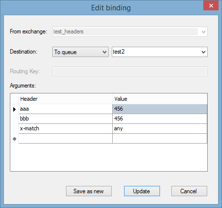 Header exchange bindings