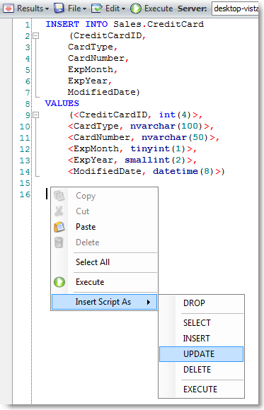 Intelligent code completion in SQL Editor